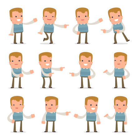 family discussion: Set of Active and Positive Character Family man making presentation poses for using in design, etc.
