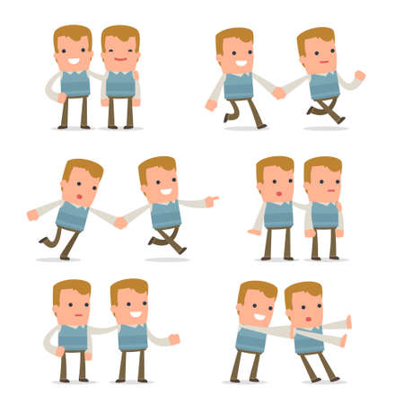 family man: Set of  Good and Careful Character Family man in helps poses for using in presentations, etc.