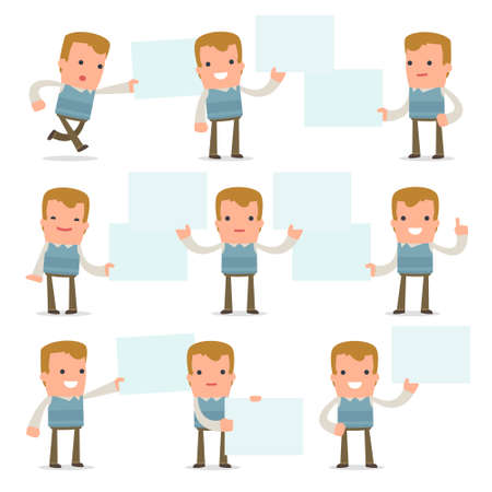 family man: Set of Funny and Cheerful Character Family man holds and interacts with blank forms or objects for using in presentations, etc.