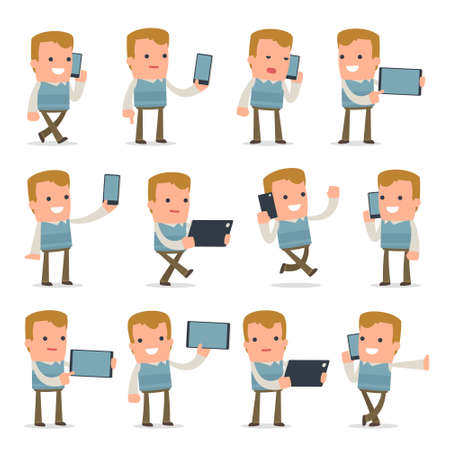 holding smart phone: Set of Smart and Funny Character Family man holding mobile phone for using in presentations, etc. Illustration