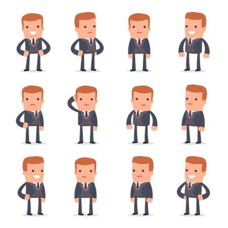 relaxed man: Set of Happy and Cheerful Character Rich man standing in relaxed poses for using in presentations, etc.