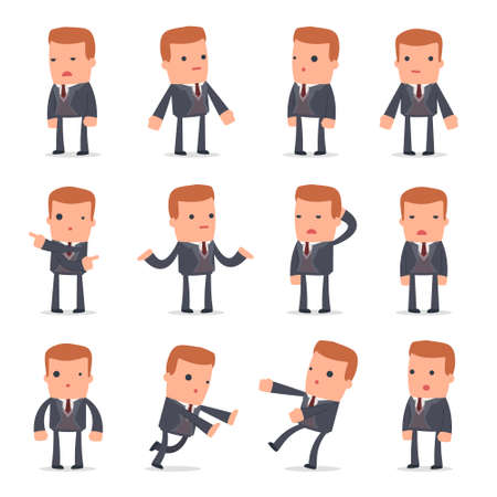 Set of Confused and Sad Character Rich man in ignorance poses for using in presentations, etc.