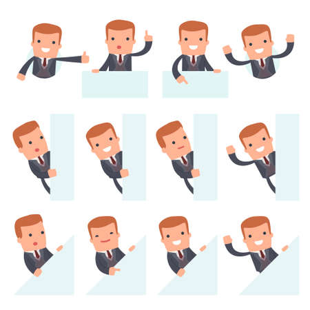 interacts: Set of Funny and Cheerful Character Rich man holds and interacts with blank forms or objects for using in presentations, etc.