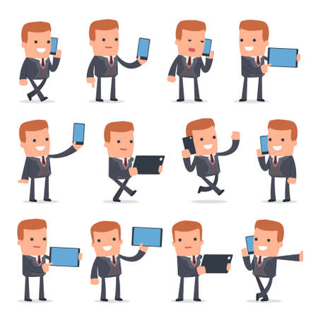 holding smart phone: Set of Smart and Funny Character Rich man holding mobile phone for using in presentations, etc.