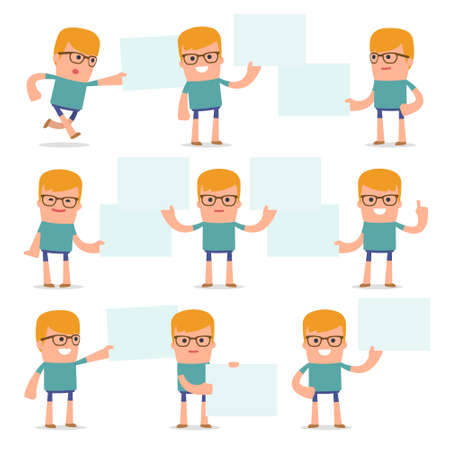 interacts: Set of Funny and Cheerful Character Teenager holds and interacts with blank forms or objects for using in presentations, etc.