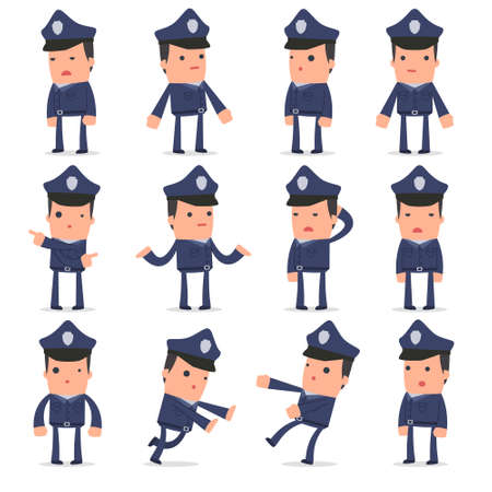 Set of Confused and Sad Character Officer in ignorance poses for using in presentations, etc.