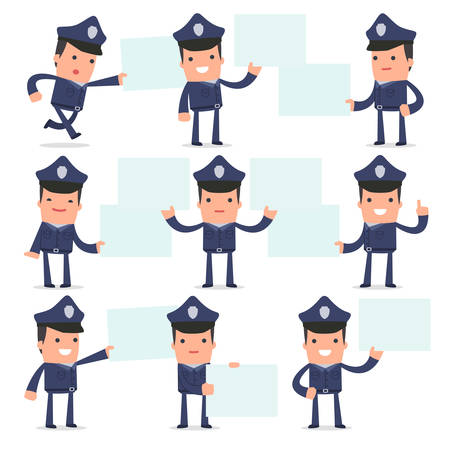 interacts: Set of Funny and Cheerful Character Officer holds and interacts with blank forms or objects for using in presentations, etc.