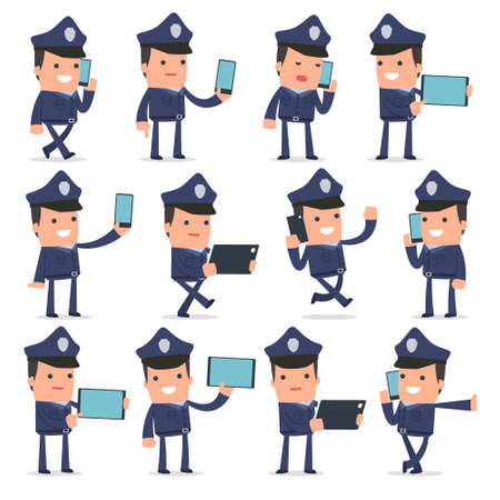 holding smart phone: Set of Smart and Funny Character Officer holding mobile phone for using in presentations, etc. Illustration
