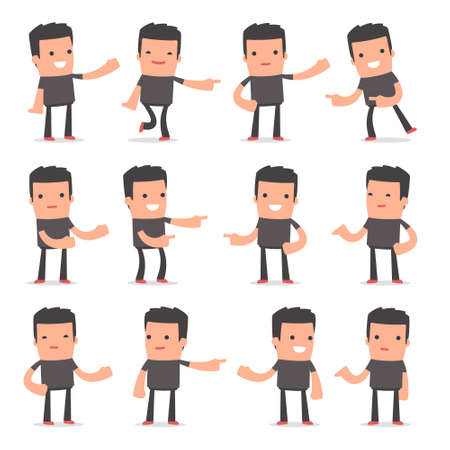 bully: Set of Active and Positive Character Bully making presentation poses for using in design, etc.