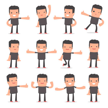 style advice: Set of Funny and Cheerful Character Bully showing thumb up as a symbol of approval for using in presentations, etc.