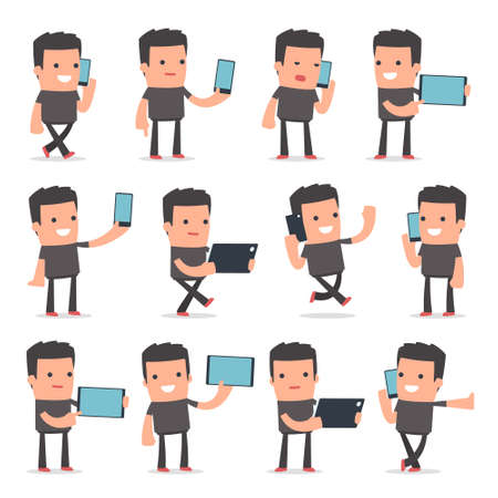 holding smart phone: Set of Smart and Funny Character Bully holding mobile phone for using in presentations, etc.