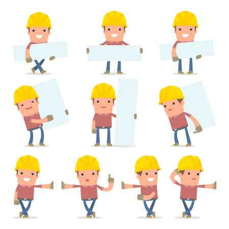 builder: Set of Smart and Funny Character Builder leaned against the wall and shares information for using in presentations, etc.