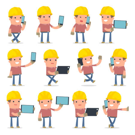 set of smart and funny character builder holding mobile phone