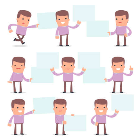 interacts: Set of Funny and Cheerful Character Stylist holds and interacts with blank forms or objects for using in presentations, etc. Illustration