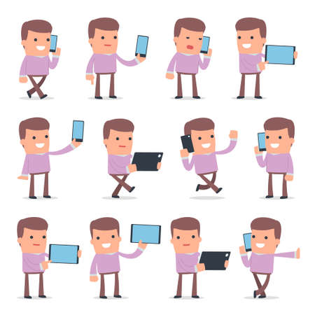 holding smart phone: Set of Smart and Funny Character Stylist holding mobile phone for using in presentations, etc. Illustration