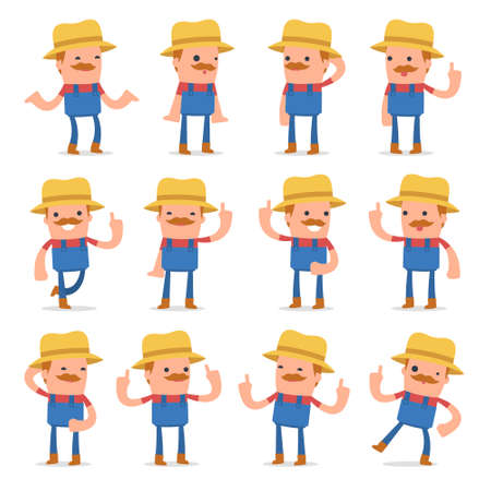 Set of Intelligent and Clever Character Farmer visited great idea poses for using in presentations, etc.