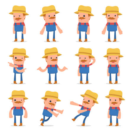 Set of Confused and Sad Character Farmer in ignorance poses for using in presentations, etc.