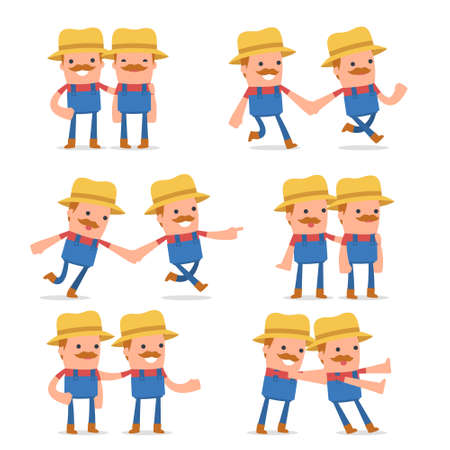 hopeless: Set of  Good and Careful Character Farmer in helps poses for using in presentations, etc.