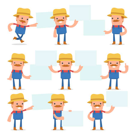 interacts: Set of Funny and Cheerful Character Farmer holds and interacts with blank forms or objects for using in presentations, etc.