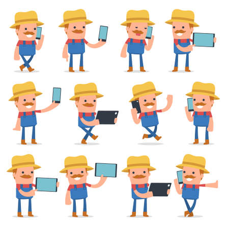 holding smart phone: Set of Smart and Funny Character Farmer holding mobile phone for using in presentations, etc.