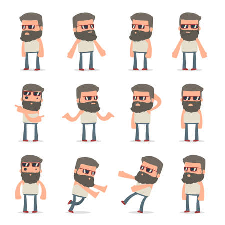 Set of Confused and Sad Character Hipster in ignorance poses for using in presentations, etc.