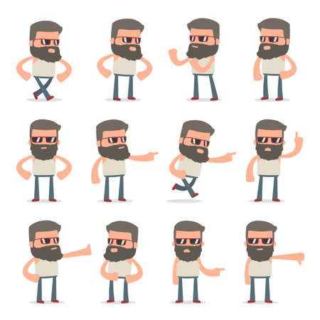 abuses: Set of Angry and Wrathful Character Hipster abuses and accuses poses for using in presentations, etc.