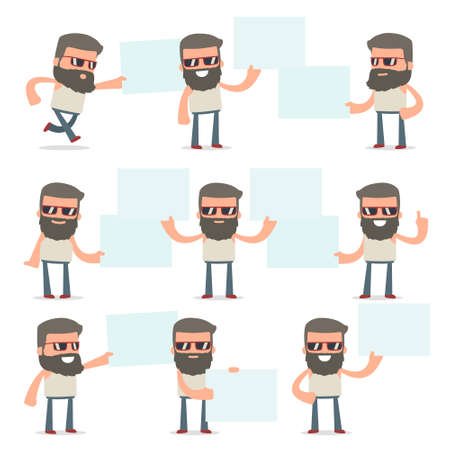 interacts: Set of Funny and Cheerful Character Hipster holds and interacts with blank forms or objects for using in presentations, etc.