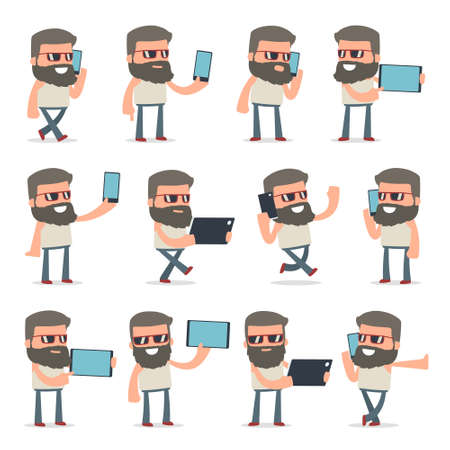 holding smart phone: Set of Smart and Funny Character Hipster holding mobile phone for using in presentations, etc.