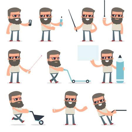Set de Happy et Hipster intelligente de caractères faisant la présentation pour l'utilisation de pointeur à l'aide dans la conception, etc. Banque d'images - 62954570