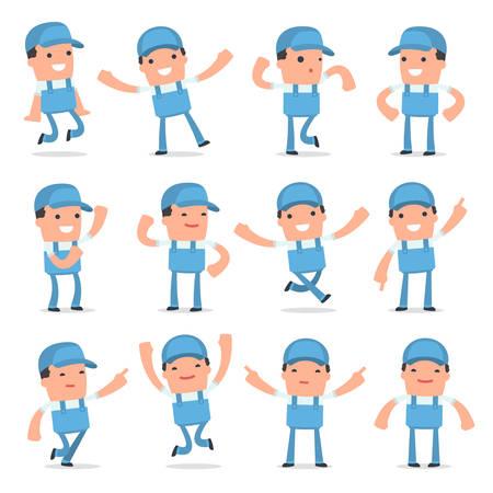 repair man: Set of Laughing and Joyful Character Repairman in celebrates and jumps poses for using in presentations, etc.