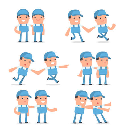Set of  Good and Careful Character Repairman in helps poses for using in presentations, etc.