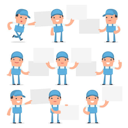 interacts: Set of Funny and Cheerful Character Repairman holds and interacts with blank forms or objects for using in presentations, etc.