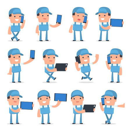 Set of Smart and Funny Character Repairman holding mobile phone for using in presentations, etc. Vettoriali