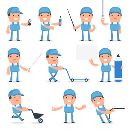 repair man: Set of Happy and Intelligent Character Repairman making presentation for using pointer using in design, etc. Illustration
