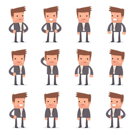 competitor: Set of Happy and Cheerful Character Competitor standing in relaxed poses for using in presentations, etc. Illustration
