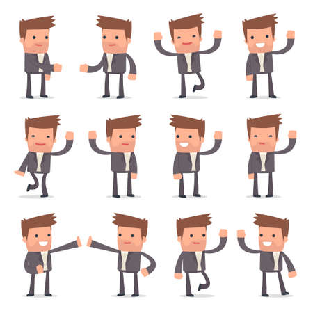 competitor: Set of Funny and Cheerful Character Competitor welcomes poses for using in presentations, etc.