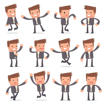 competitor: Set of Laughing and Joyful Character Competitor in celebrates and jumps poses for using in presentations, etc. Illustration