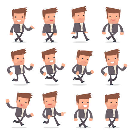 character design: Set of Funny and Cheerful Character Competitor goes and runs poses for using in presentations, etc.
