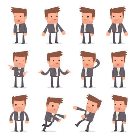 Set of Confused and Sad Character Competitor in ignorance poses for using in presentations, etc. Illustration