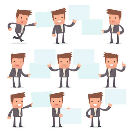 competitor: Set of Funny and Cheerful Character Competitor holds and interacts with blank forms or objects for using in presentations, etc. Illustration
