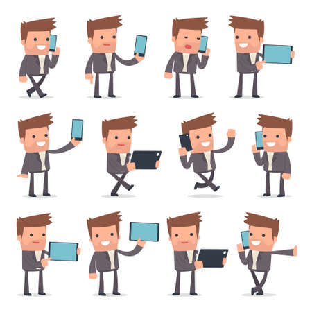 vile: Set of Smart and Funny Character Competitor holding mobile phone for using in presentations, etc. Illustration