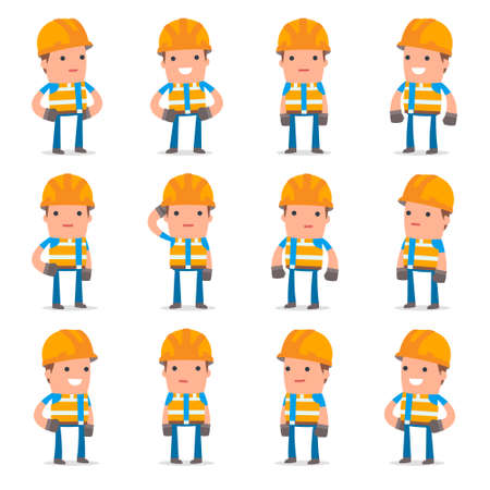 Set of Happy and Cheerful Character Constructor standing in relaxed poses for using in presentations, etc.