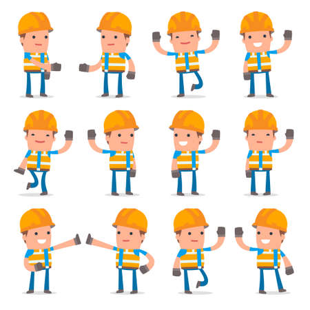 Set of Funny and Cheerful Character Constructor welcomes poses for using in presentations, etc.