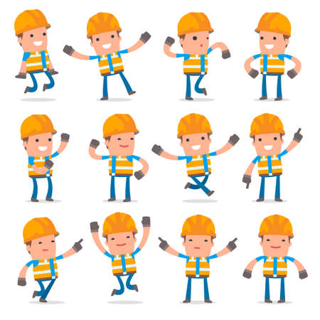constructor: Set of Laughing and Joyful Character Constructor in celebrates and jumps poses for using in presentations, etc. Illustration