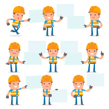 interacts: Set of Funny and Cheerful Character Constructor holds and interacts with blank forms or objects for using in presentations, etc. Illustration