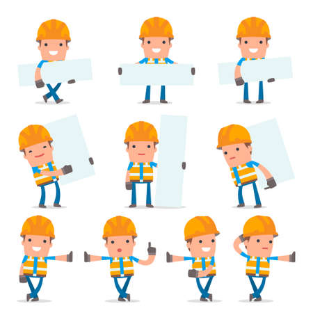 Set of Smart and Funny Character Constructor leaned against the wall and shares information for using in presentations, etc.