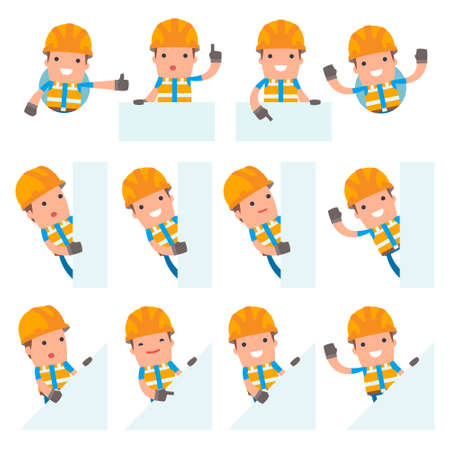 industrial worker: Set of Funny and Cheerful Character Constructor holds and interacts with blank forms or objects for using in presentations, etc. Illustration
