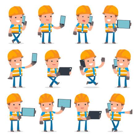 holding smart phone: Set of Smart and Funny Character Constructor holding mobile phone for using in presentations, etc. Illustration