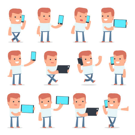 holding smart phone: Set of Smart and Funny Character Casual Boy holding mobile phone for using in presentations, etc. Illustration