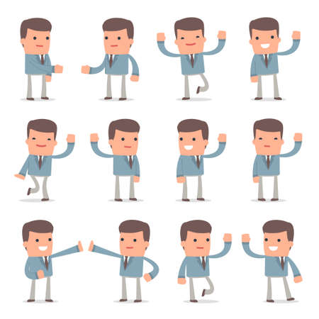 Set of Funny and Cheerful Character Graduate Student welcomes poses for using in presentations, etc.